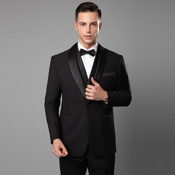 2019 Ternos pretos bonitos para homens Slim Fit (paletó + colete + calça) sob medida Ternos de casamento Custom Made Moda noivo Terno Noivo Smoking