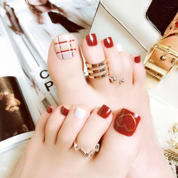 foot false nail tips with glue full nail tips toe art tool fake toes rh m dhgate com