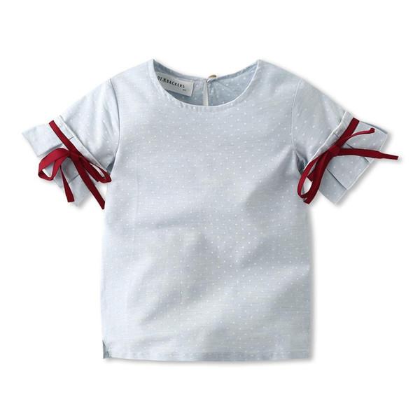 INS çocuklar giysi tasarımcısı kızlar gömlek Yaz kız Yuvarlak yaka Kısa kollu puantiyeli tasarım kız gömlek çocuk giyim ücretsi ...