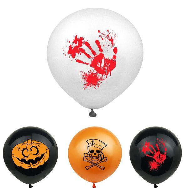 Salpicadura de sangre Globos de látex Decoración de Halloween Huellas de manos sangrientas Decoración de fiesta de calavera de fantasma de calabaza de 12 pulgadas DBC VT0549