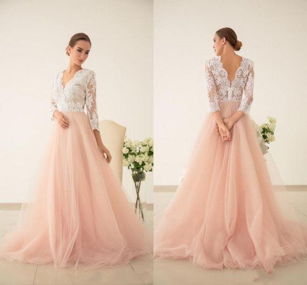 2019 Dreaming Blush Pink Ivory A-Line Свадебное платье Свадебные платья с иллюзией с длинным рукавом Sexy V-образным вырезом V-образным вырезом Принцесса Свадебный прием