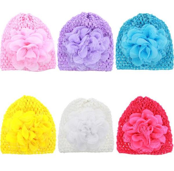 Novo Chapéu de Malha Do Bebê Bonito Lace Flower Elastic Mesh Oco Cap chapéus 6 Cores Estilo Verão