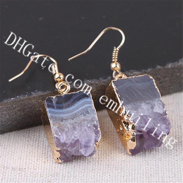 10Pairs Rectangular Drop Amethyst Stalactite Slice Earrings Raw Crystal Geode Stone Earrings Gold Plated Purple Druzy Drusy Earrings Jewelry