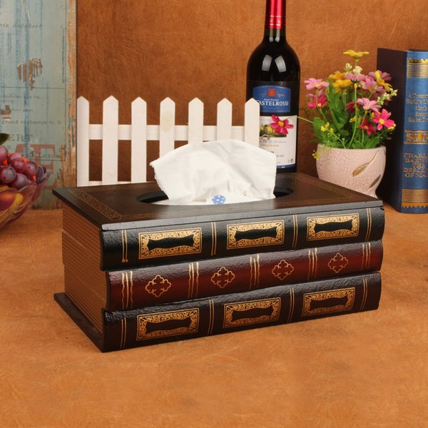 Vintage European-style Book Tissue Box Wooden Craft Paper Box Large-capacity Napkin Crafts Bathroom Car Living Room