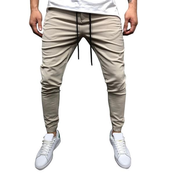 SHUJIN Marka Erkekler Sıska Pantolon Moda Katı Spor Ince Erkek Pantolon Sonbahar Nedensel İpli Workwear Boy Erkek Pantolon