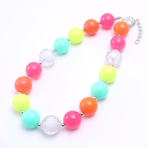 Pretty Neon Color Bead Kid Chunky Necklace Fashion Wholesale Bubblegum Bead Chunky Necklace Children Jewelry For Toddler Girls