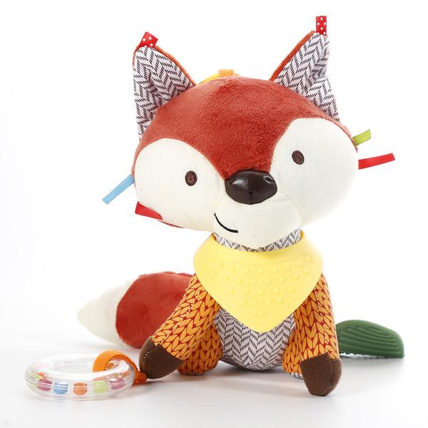 Nettes Baby-Fox Rasseln Kleinkinder Tier Spaziergänger Auto Spielzeug Clip Lathe Einhängesitz Kinderwagen Spielzeug Mobile Music Lernspielzeug