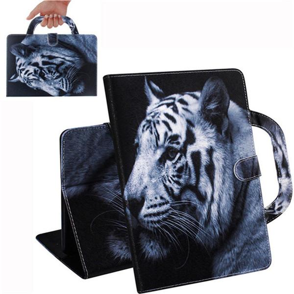 Caja de la tableta Huawei MediaPad M5 Lite 8.0 pulgadas / del a Tab 5 asa de la cubierta del soporte del tirón de la carpeta de cuero teñidos dibujo del león del tigre
