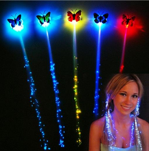 Butterfly Luminous Light Up LED Hair Extension Flash Braid Party Girl Hair Glow by Fiber Optic Christmas Halloween Night Lights Decoration