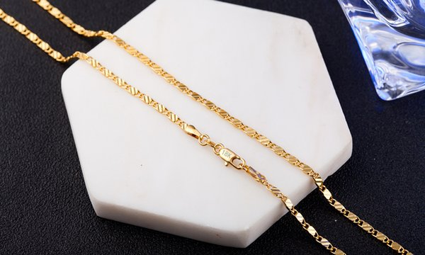 18K Gold Plated 2mm Chain Necklaces S925 Silver Plated Sweater Chain Clavicle Link Chain Necklace for Woman Man
