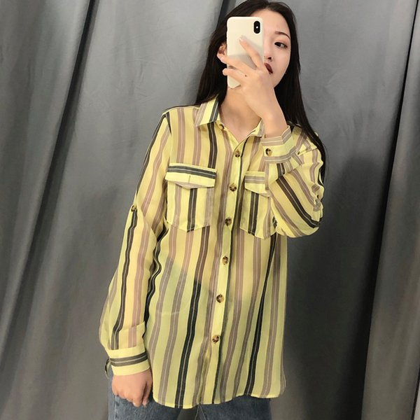 thin Blouse Striped for ladies big Size chiffon shirts for wommen Turn-down Collar Irregular Pocket Full Sleeve Clothes