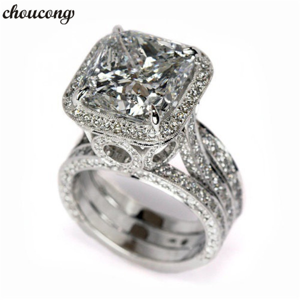 choucong Vintage Promise ring Cushion cut 2ct Diamond 925 Sterling silver Engagement Wedding Band Rings for women Men