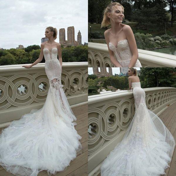 인발 인 Dror 2020 봄 컬렉션 놀라운 레이스 깃털 채플 기차 등이없는 해변 웨딩 드레스의 연인 인어 웨딩 드레스 2053