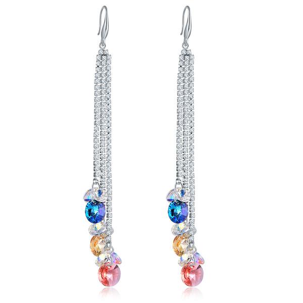 Haute Cristal Autrichien De Swarovski Element Dangles Lustre De Mode Super Long Gland Boucles D'oreilles Argent