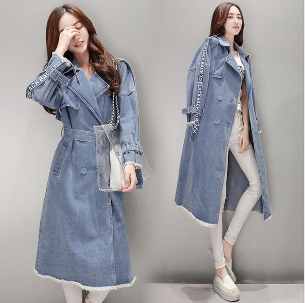 2019 New design fashion women's letter print double breasted turn down collar denim jeans midi long sashes trench coat abrigos casacos