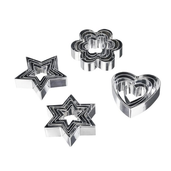 Baking & Pastry Tools 5 Pc Round Star Heart Flower Shape Cookie Biscuits Cutters Stainless Steel Muffins Crumpets Molds Set Baking Tools