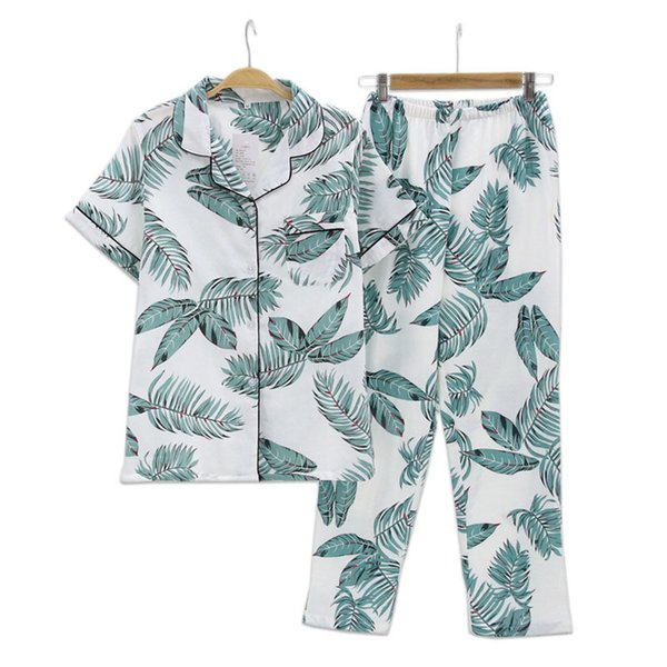 Fresh Leaf Pyjamas Women 100% Gauze Cotton Short Sleeve Trousers Korea Pajamas Mujer Homewear Women Sleepwear Q1904020