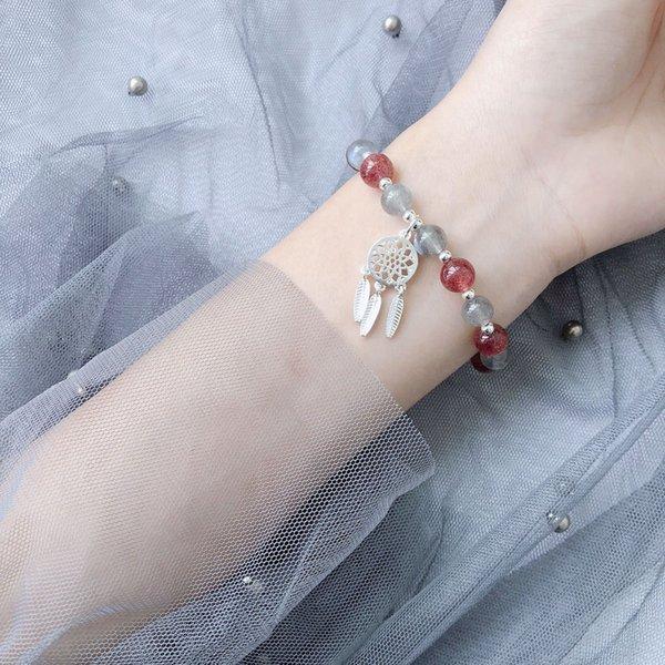 Le plus jeune bracelet gris en cristal de fraise au clair de lune avec pendentif capteur de rêves, élégance simple et mode