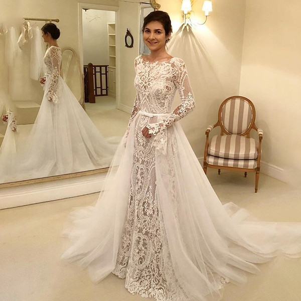 Long Sleeves Wedding Dress With Detachable Tulle Overskirt Plus Size Bridal  Dress Hollow Back Vestido De Noiva 2020 Wedding Gown Non Traditional ...
