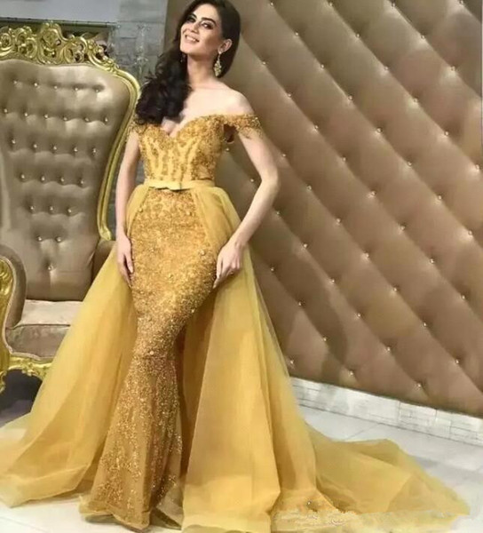 2020 Sparkly Sexy Long Off Shoulder Gold Mermaid Prom Dresses Two Piece Removable Train Evening Gowns Party Guest Lace Beaded Crystal Tulle
