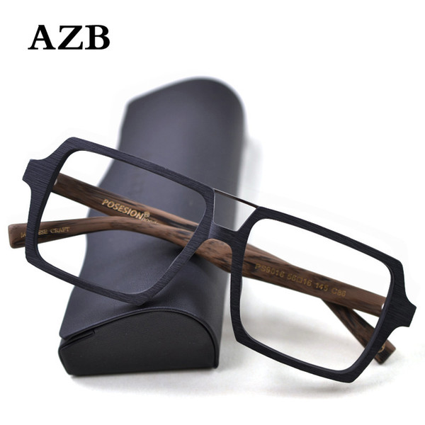 AZB Vintage Wood Oversized Glasses Frame Clear Lens Women Men Wooden Optical Eyeglasses Prescription Glasses Frames Spectacle