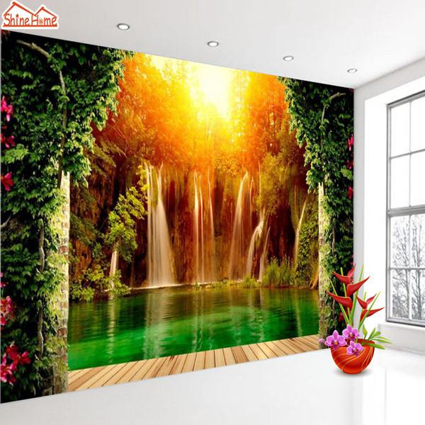 3d tapeten tapeten wohnkultur tapeten wandbild tapeten für wohnzimmer selbstklebende wände wandbilder rollen wasserfall wald kunst