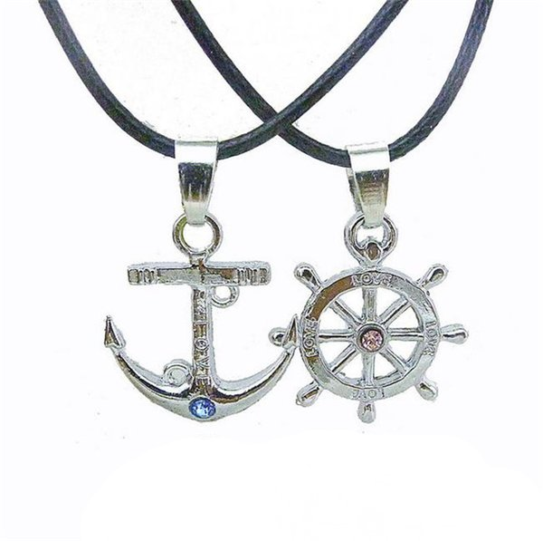 Romantic Lover Necklaces Fashion 925 Silver Anchor Keychains Pendant Necklaces Men Women Long Leather Necklaces Best Gifts K3460
