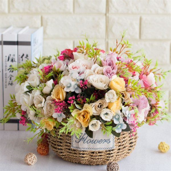 Fake Rose Hydrangea Bunch (5 stems/piece ) Simulation Roses with Plastic Accessories for Wedding Home Decorative Artificial Flowers