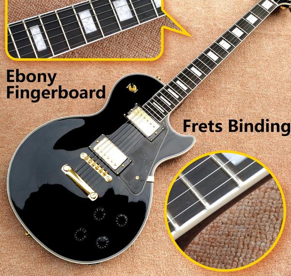 Custom Shop Black Beauty Gloss Black Chitarra elettrica Tastiera in ebano Fret Bindings, Hardware dorato, Pickup Humbucker, Grover Tuner