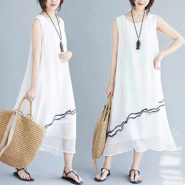 Cotton Linen Series# Fashion Dress Round Neck Sleeveless Solid Color Embroidery Loose Plus Size Boho Style Women Dresses 8133