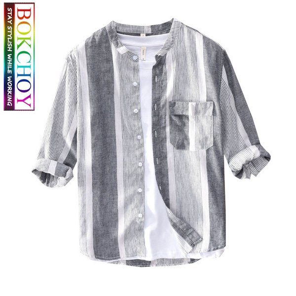 men linen shirt stripe casual shirt thin section breathable men autumn striped long sleeve collarless - from $28.80
