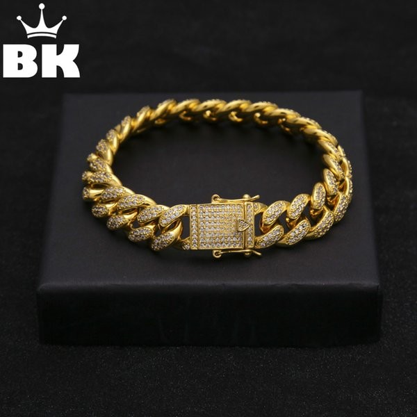 13.5mm Copper Curb Cuban Bracelet Iced Out Cz 7inch /8inch Bracelet Gold Silver Color For Men Luxury Box Clasp Drop Shipping J190625