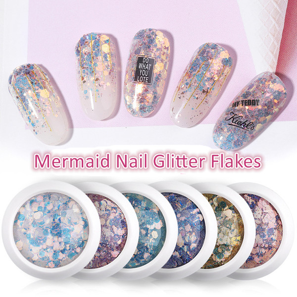 best selling Nail Mermaid Glitter Flakes Sparkly 3D Hexagon Colorful Sequins nail glitter Spangles Polish Manicure Nails Art Decorations