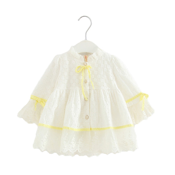 Spring Baby Girls Dress Long-sleeve Embroidery Princess Party Birthday Dress Kids Clothes Children Dresses For 0-2t Pink White J190619