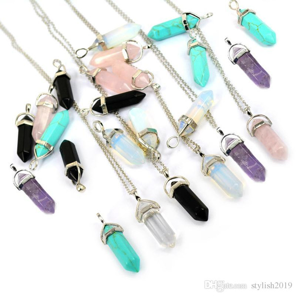 top popular Bullet Shape Real Amethyst Natural Crystal Quartz Healing Point Chakra Bead Gemstone Opal stone Pendant Chain Necklaces Jewelry WCW082 2020