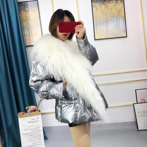 Real Mongolia Sheep Fur Collar 2019 Women's White Duck Down Jacket Thick Warm Winter Coat Women High Quality Female Down Parka T191024
