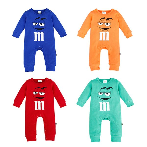 top popular 4 Color Newborn baby cartoon M Rompers 2019 New kids Cartoon cartoon Long Sleeve Clothes B 2019
