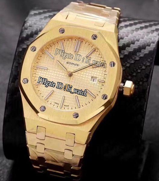 Nuovo 41mm Oro giallo 15202 Quadrante testurizzato oro Data A2813 Atuomatic Orologio uomo Orologi sportivi in acciaio inossidabile hi_watch A buon mercato A390e5