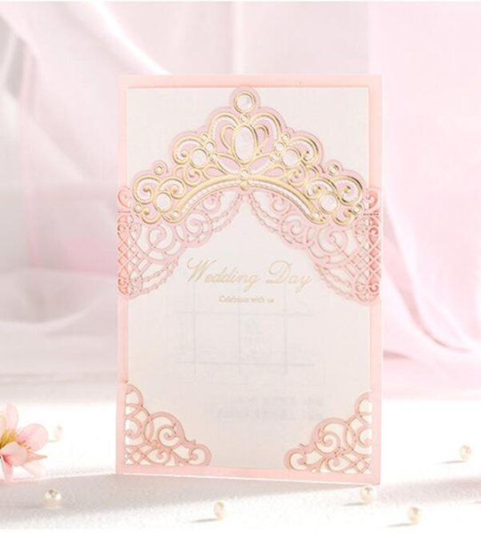 Pink Laser Cut Bronzing Crown Wedding Party Invitation Cards Customized Marriage Engagement Invitations Express Shipping Christmas Cards Christmas