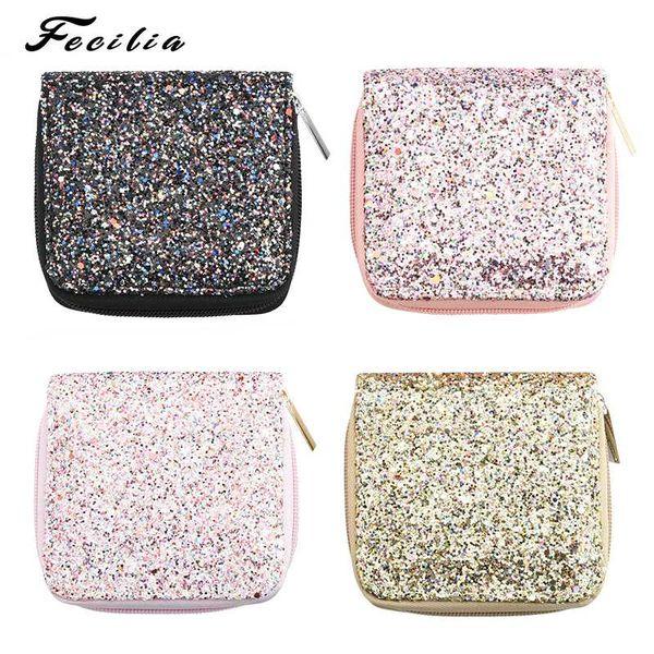 Fecilia Shiny Small Square Bag for Women Mini Coin Handbag Girl's Clutch Purse Borsa da sera regalo