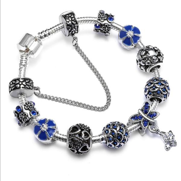 Cherry blossoms crystal bead bracelets Valentine's Day Gift Jewelry Love Bracelets Sweat Heart Butterfly Dragonfly Rhinestones Bracelets