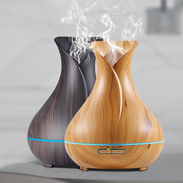 Diffuseur d'huile essentielle d'arome d'humidificateur d'air avec le grain en bois 7 couleur changeante des lumières de LED pour le salon RRA734 de chambre à coucher