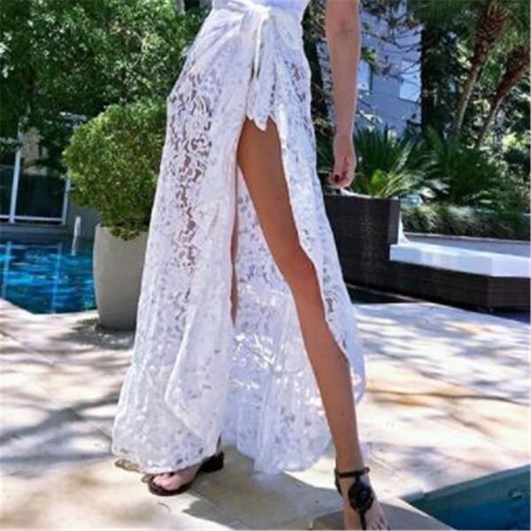 Summer Women Sexy Lace Long Split Dress Cover Up Bikini Swimwear Sarong Ropa de playa