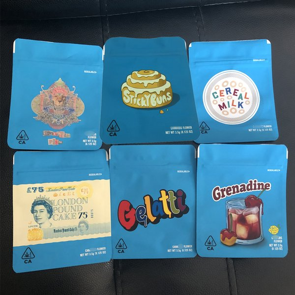 top popular 3.5 Grams Cookies Bag Packaging Bags Smell Proof Childproof California Cheetah Piss Gelatti Gary Payton London Pound Zipper bags 2020