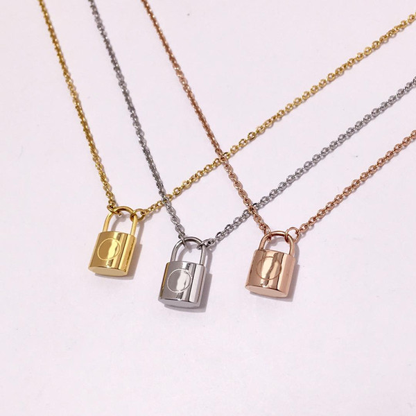 top popular Designer Branded Couple Necklace Fashion Luxuries Lock Pendant Necklaces 18K Titanium Steel Plated Women Necklace for Birthday Gift 2021