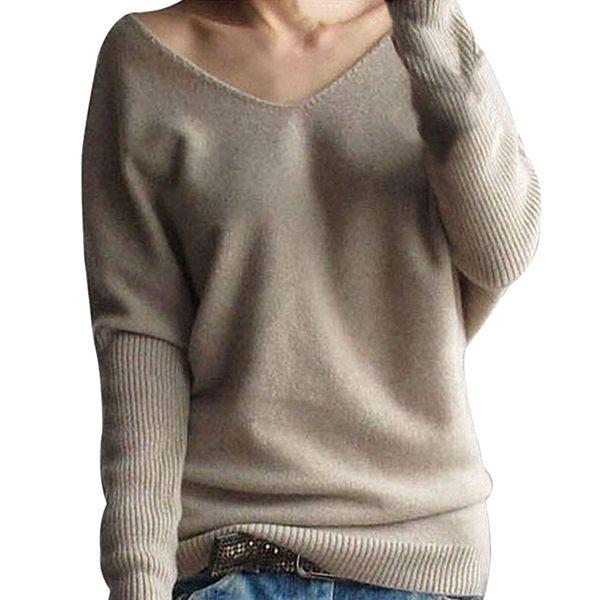 Frauen Lose Pullover Herbst Flügelhülse Weiche Mode Bluse V-ausschnitt Grund Tops Stricken Tragen Feste Warme Winter