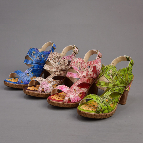 Skillful2019 Ayakkabı Yüksek topuklu Yaz Kadın Hakiki Deri Kaba Balık Ağzı Su Geçirmez Platformu Ile Çile Sandalet Size