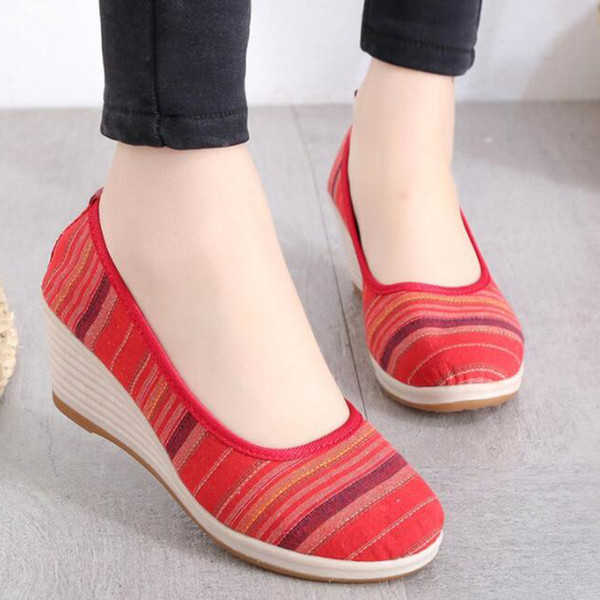 Designer Dress Shoes THEAGRANT 2019 Wedge Heel Women Pumps Vintage Striped Canvas Slip on Spring Autumn Traditional Lady Platform WHH3009