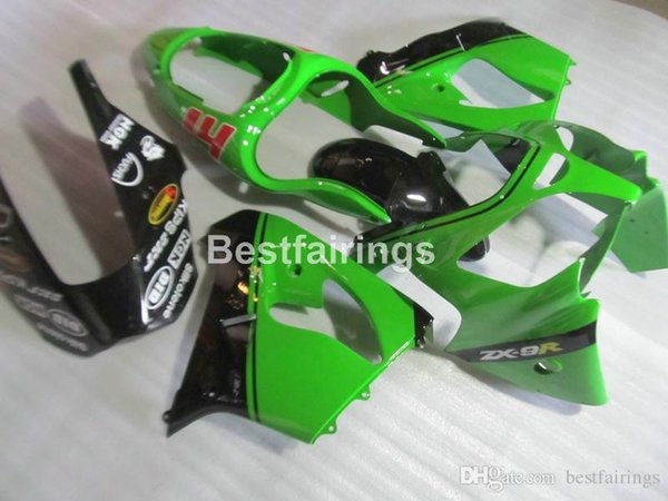 Lower price plastic Fairing kit for Kawasaki Ninja ZX9R 2000 2001 green black motorcycle fairings set ZX9R 00 01 JK39 +7Gifts