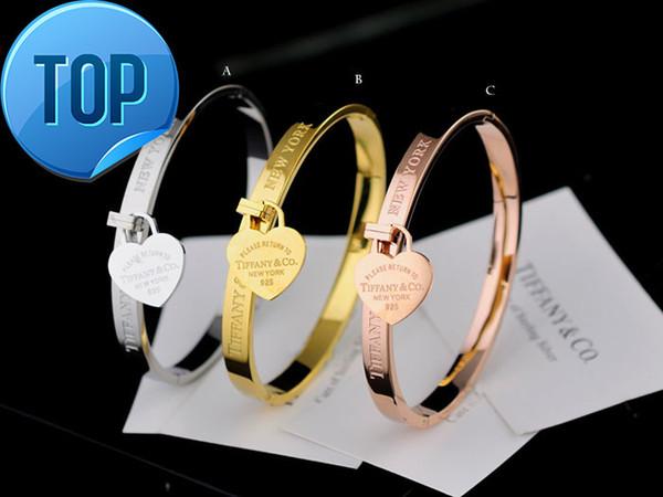 High Quality Celebrity design Silverware Silver beads bracelet Women Letter Heart-shaped Fashion metal Bracelets Jewelry With dust bag Box